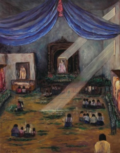 Maya PrayersOil on canvas depicting the church in San Juan Chamula.©2011 Carla Woody