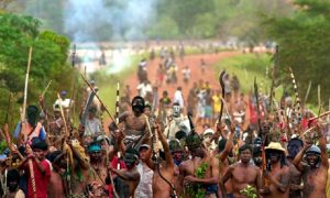 Guarani and Kaiowa Indians are in conflict with ranch owners over the allocation of land in Brazil. Photograph: Celso Junior/AP
