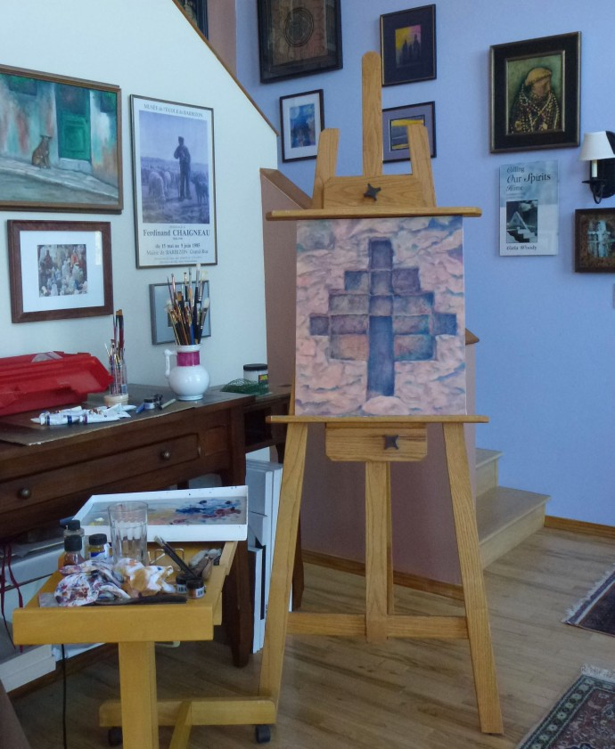 Mystery School in process on the easel.