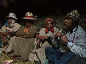 Hopi Harold Joseph (rt) during despacho ceremony with Q'ero spiritual leaders. Photo credit: Sage Garrett.