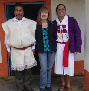 With Maya spiritual leaders Don Xun Calixto (l) and Apab'yan Tew (r) in January 2015.